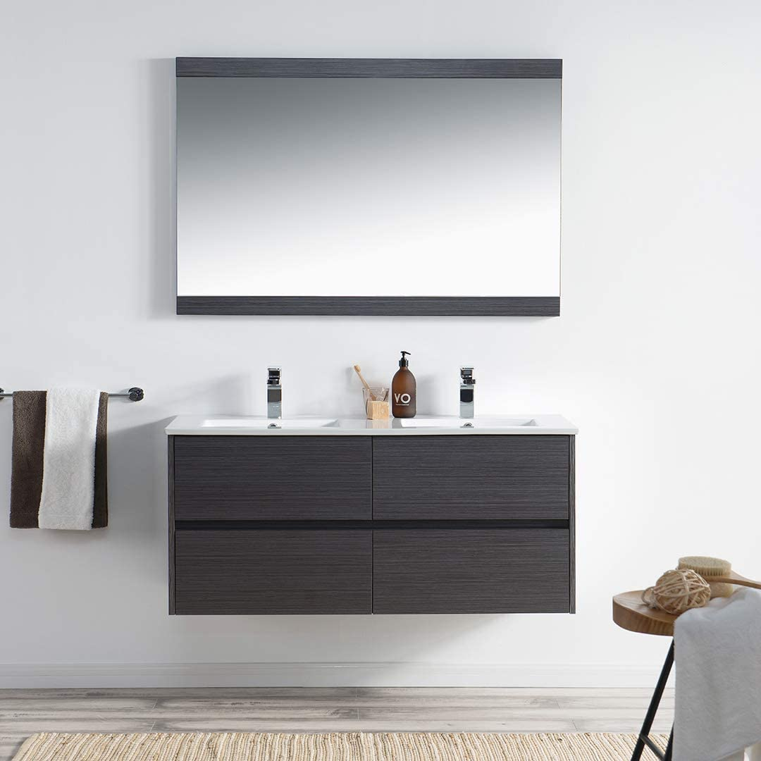 Buy 48 Inches Double Bathroom Vanity With Ceramic Sink 016 48 16d C 48 Inch Double Sink Silver Grey Online In Hungary B0879gs6sz