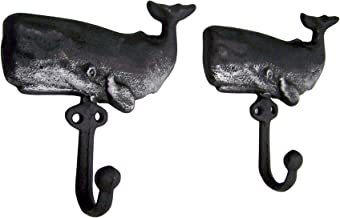 Wall Mounted Cast Iron Whale Hooks, Black and Silver Toned, Nautical Décor, Set of 2, 5.9 Inches