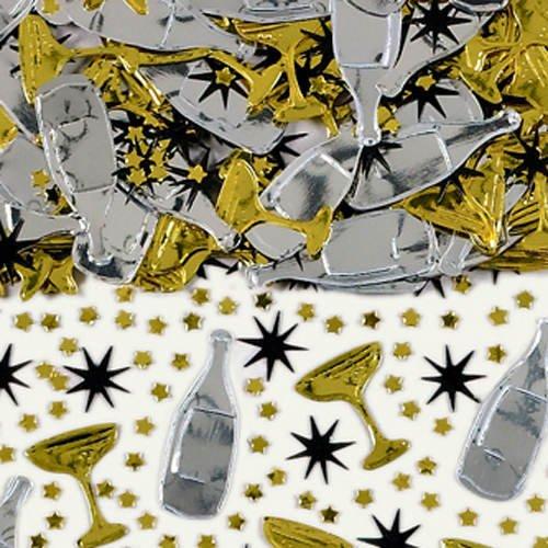 PARTY DISCOUNT Konfetti Champagner, schwarz/Gold/Silber 14 g