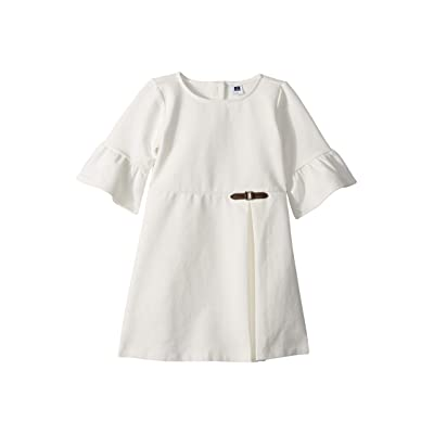 Janie and Jack Side Buckle Ponte Dress (Toddler/Little Kids/Big Kids) (White) Girl