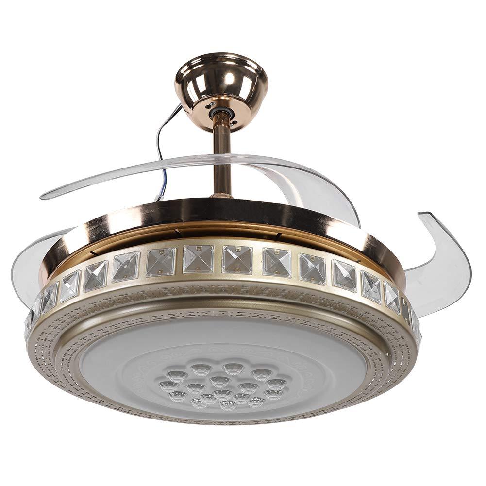 Fácil para Instalar en pc DIRIGIÓ Techo Ventilador, Obturador Cansada Ventilador Color Luz Acrílico Sombra 65w con Aluminio Aleación