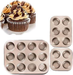 3 Pièces Moule à Cupcakes - Plaque à Muffins - Acier au Carbone avec Revêtement Anti-adhésif Facile à Nettoyer (4/6/12 Cav...