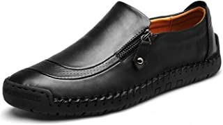 Mens Leather Comfortable Shoes Hand Stitching Zipper Non-Slip Casual Shoes Loafer Boat Sneaker