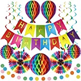 Premium Reusable Birthday Party Decorations - Birthday Decoration Set - Happy Birthday Banner, Honeycomb Decorations, Streamers, Paper Garland