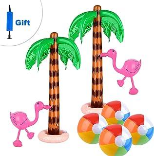 Sponsored Ad - ATROPOS Set of 8 Inflatable Palm Trees Flamingos Toys Beach Inflatable Colorful Beach Balls for Hawaiian Lu...
