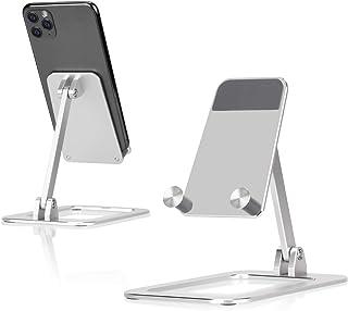 STALNACKER スマホ スタンド ホルダー 角度調整可能,アルミ 携帯電話 卓上スタンド,携帯電話スタンド,充電スタンド,スマフォスタンド,卓上 充電スタンド, スマフォスタンド, アイフォンデスク置き台,Nintendo Switch 対応 アイフォン アンドロイド iPhone 11/11 Pro/11 Pro Max/11 プロ マックス XS/ XS Max/ XR/ X /8plus/ 7 /7plus/ 6/ 6s 6plus /5 /5s/ se/ se2 /第二世代/Xiaomi/ Redmi /Note 8 9 10/ pro mi, huawei p20 p30 lite/Sony Xperia/ Nexus/android対応(銀)
