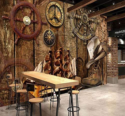 Grote Custom Retro Nostalgische Houten Board Rudder Zeilen Thema Restaurant Dressoir Achtergrond Muur 400×280cm