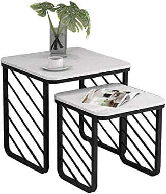 ZHIRONG Set of 2 Nesting Coffee Tables Marble Accent Side End Tables Plant Stand for Bedroom Living Room Home Office and Patio