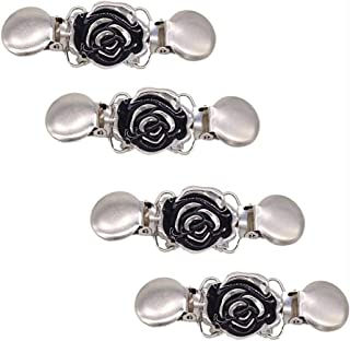 BETOY Clip de Rebeca de Mujer, 4 Piezas Clips de suéter Vintage con Flores Diamantes de imitación, Collar de Bufanda Metal...