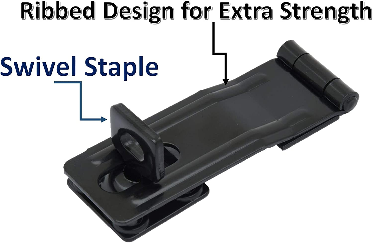 Steel Black QCAA HASP and Swivel Staple 2 Pack Made in Taiwan 4-1//2