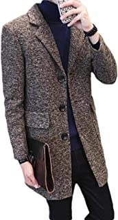 Men's Wool Trench Coat Slim Fit Notched Collar Midi Winter Jacket Overcoats