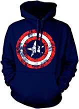 Official Captain America Distressed Shield Logo Sweater Hoodie - Navy Blue