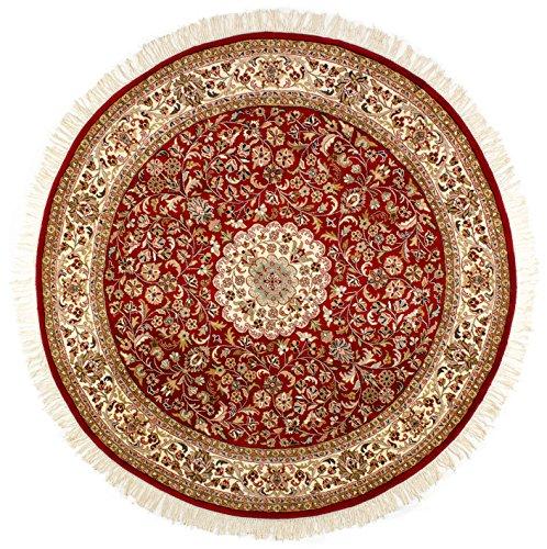 Lifetex.eu Teppich Täbriz ca. 240 cm rund Rot handgeknüpft Schurwolle Klassisch hochwertiger Teppich
