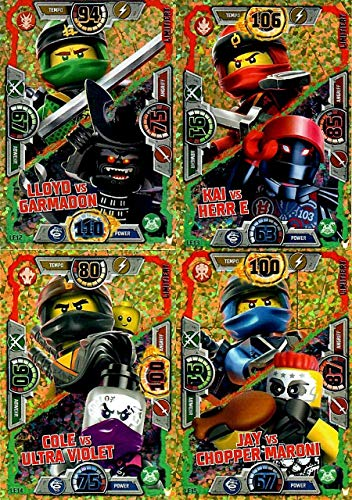 LEGO Ninjago Serie 3 - 4 limitierte Gold Karten Trading Cards NEU LE12 Lloyd, LE13 Kai, LE14 Cole, LE15 Jay + Bonus Karte aus Serie 2 Ronin LE8