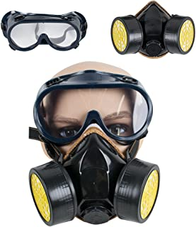 Respirator Gas Mask with Safety Goggles, ixaer Industrial Gas Chemical Dual Anti-Dust Respirator Mask Goggles Set Anti-Poison Respirator Mask