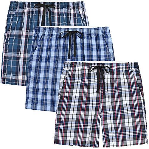 MoFiz Schlafshorts Jungen Baumwolle Kurz Pyjamahose Schlafanzug Karierte Hose Loungewear Nachtwäsche 3 Stücke-03 L (158-170)