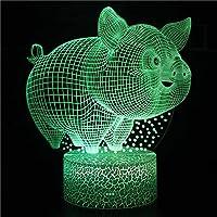 3D目の錯覚ランプLEDナイトライト豚 USB 7色タッチベッドサイドランプ寝室テーブルアールデコチャイルドライトブラックベース:カラフル+タッチ