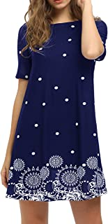 Women's Short Sleeve Floral Print Loose Casual Tunic...