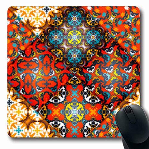 Gsgdae Alfombrilla de ratón con diseño Abstracto de retales de cerámica y Azulejos arábigos, Estilo Vintage, geométrico, Estilo Bohemio, Forma Tribal, Forma Rectangular, 20 x 24 cm