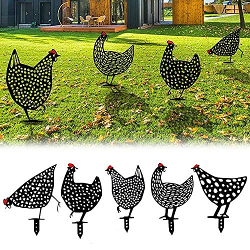 Loofu Sagoma di Pollo Decorazione Dell'ombra per Cortile Decorazione della Scultura del Giardino Decorazione del Prato Inglese All'aperto del Cortile Le Pile di Pollo Sono Fatte di Bordo Acrilico