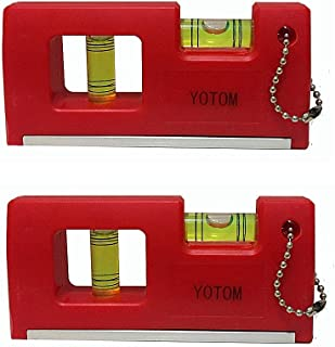 Magnetic Pocket Level, Magnet Spirit Bubble Leveler for Determining Horizontal and Vertical Plane, 2 Pieces (Red - 2pack)