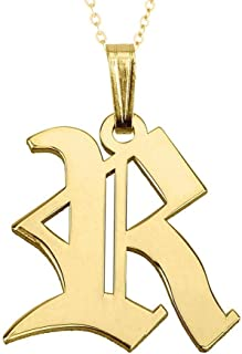 925 Sterling Silver Old English Initial Necklace Gothic Style Custom Made with Any Initial