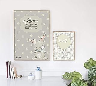 Lamina Personalizable para Bebés con Nombre, Fecha, Talla, Peso, etc.   Ideal para Habitación del Bebé   Disponible Format...