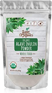 Super Organics Agave Inulin Powder | Vegan Sweetener | Good Source of Fiber | Organic Superfood Powder | Raw Superfoods | Whole Food Supplement – Vegan, Gluten-Free & Non-Gmo, 8 Oz
