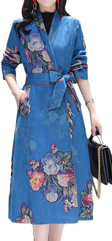 Jotebriyo Womens Belt Suede Fabric Slim Print Fall & Winter Mid Length Trenchcoat Jacket Coat