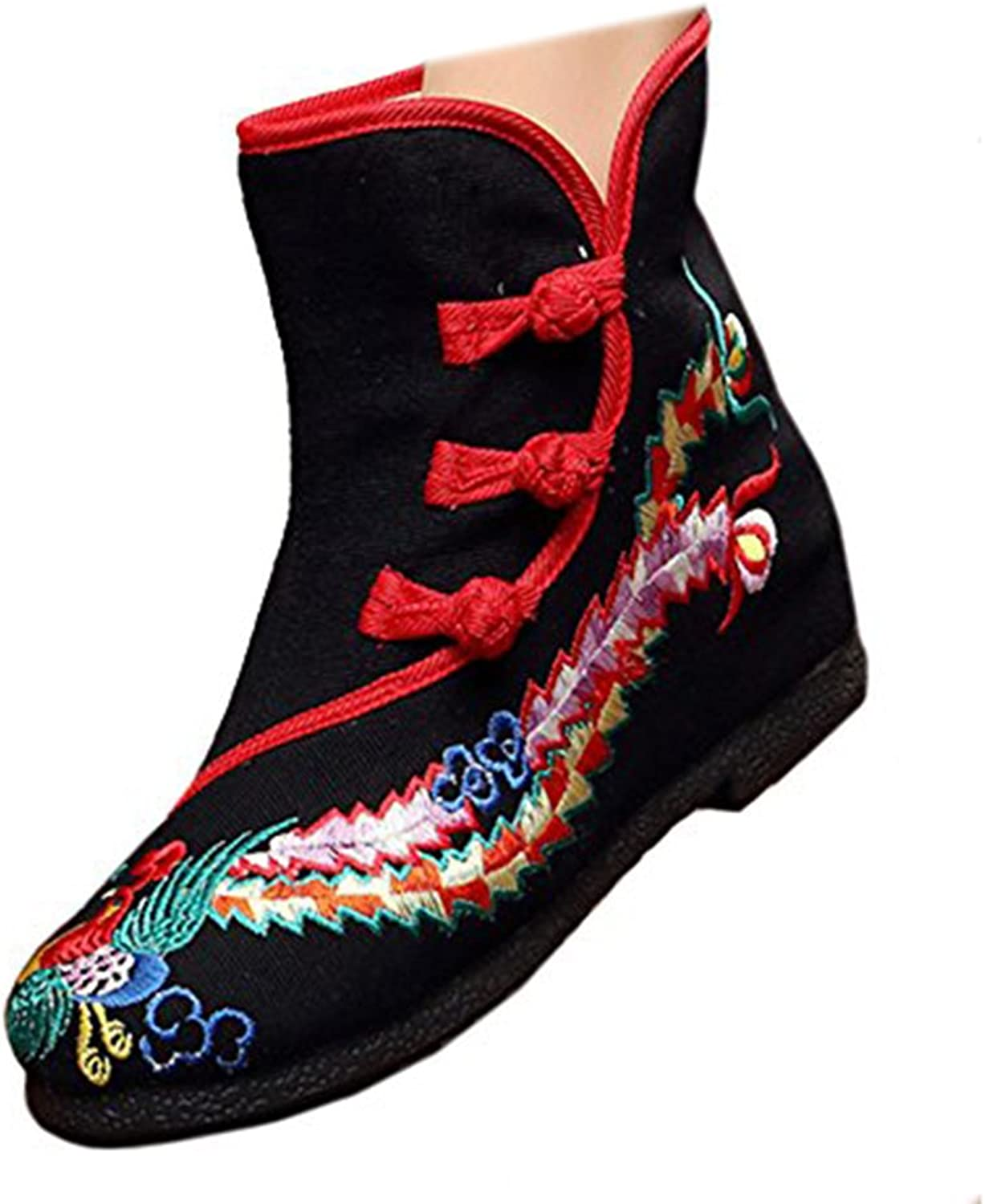 Shenghuajie Vintage Beijing Cloth shoes Embroidered Boots 12-03 Black with Cotton