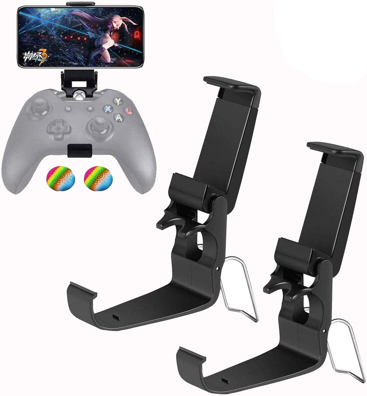 Amazon Com Foldable Mobile Phone Holder Clip For Xbox One Controller Cellphone Clamp Mount Compatible With Xbox One S Xbox One X Steelseries Nimbus Iphone Samsung Sony Lg Huawei Black 2 Pack Electronics