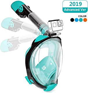 Full Face Snorkeling Mask Easy Breathing Foldable 180° Seaview Snorkel Masks for Adults or Kids Anti-Fog Anti-Leak with Action Camera Mount (Newest Version)