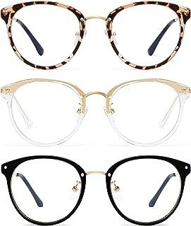 Round Blue Light Blocking Glasses Women - FEIDU Retro Computer Eyeglasses (Black+Yellow Leopard+ Clear)