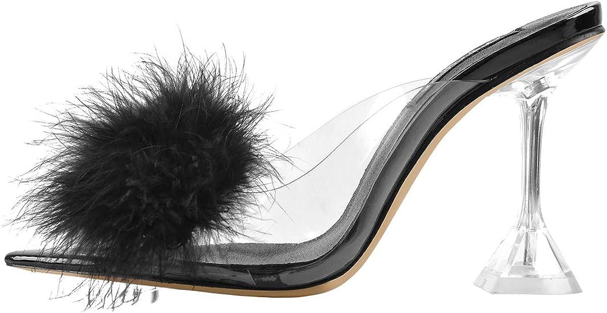 MissHeel Women's Fluffy Clear Block Heel Mules Backless High Heel Slip On Sandals