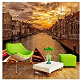Straße Landschaft Stadt Gebäude Sonnenuntergang Wandbild-Benutzerdefinierte 3D Wandtapete Retro Europäischen Fototapete Wohnzimmer Cafe Wandbild 280 cm (B) x 230 cm (H)