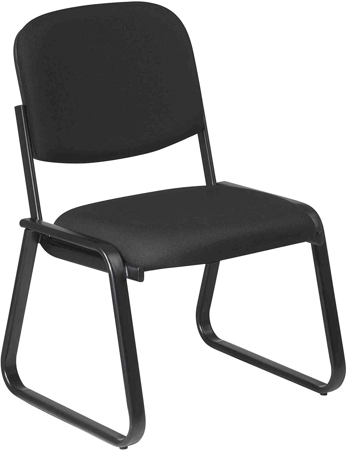 Office Star Work Smart Deluxe Sled Base Arm Chair with Designer Plastic Shell Back, Cabernet