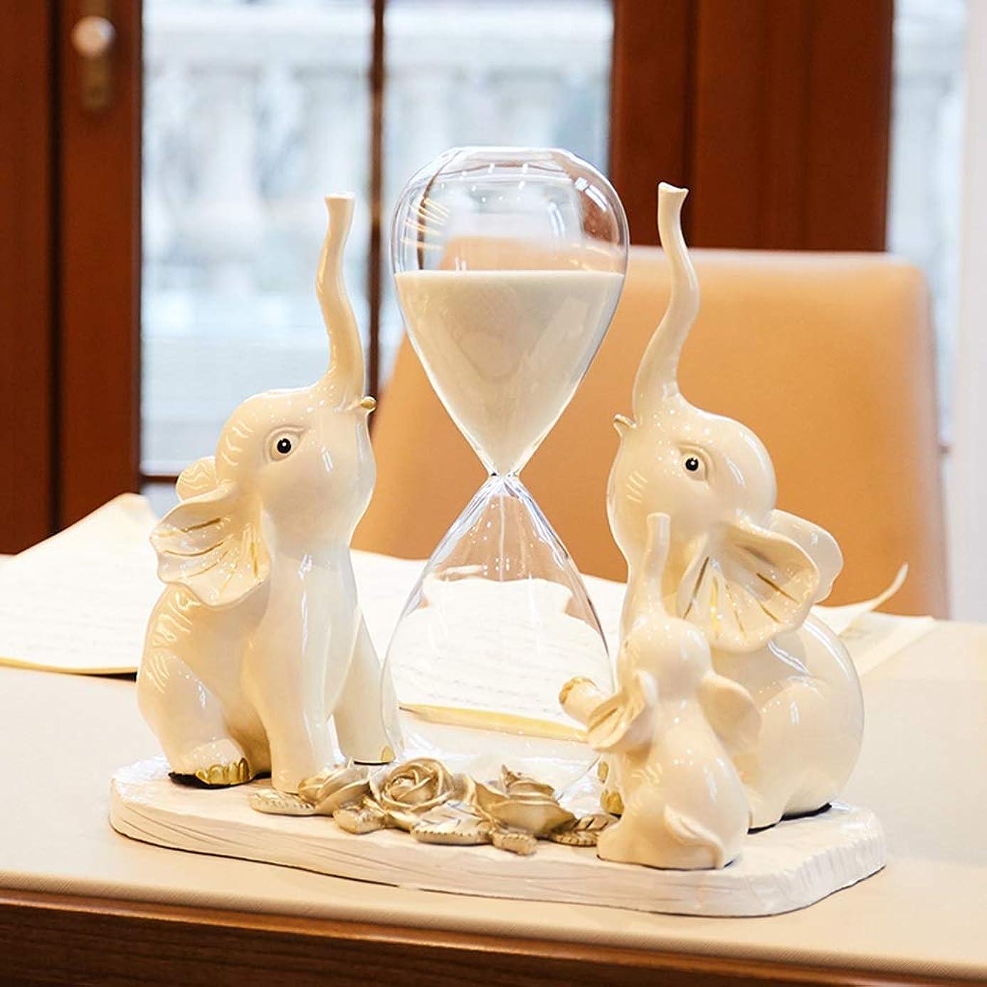 年次裁定敵対的LWBUKK 動物の形の砂時計、白い樹脂のシンプルなリビングルームの装飾工芸品、キッチンタイマー 砂時計