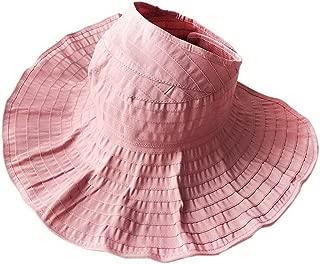 Straw Hat Beach Hat Round Cap Summer Shade Sunscreen Empty Top Cap Women, Pink