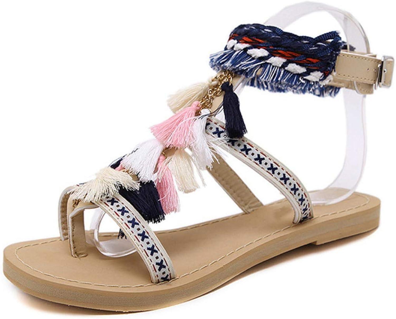 Women Summer Tassel Sandals Fringe Vintage Ladies Buckle Strap Flats shoes Flip Flops Casual shoes