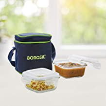 Borosil Glass Lunch Box Set of 2, 320 ml, Vertical, Microwave Safe Office Tiffin