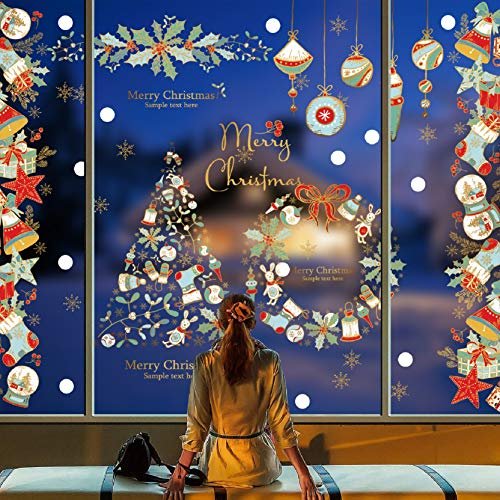 Voqeen Natale Finestre Adesivi Statico Vetrofanie Decorazioni Natalizie Rimovibile PVC Statici Sticker Ghirlanda di Natale Albero di Natale Ciondoli Colorati Calze Natalizie Bello Autoadesivi