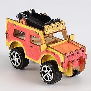 DROHOO Assembling Puzzle,A Wooden Electric Car Model Blocks DIY Kids Assembling Toy Science Experiment Kit Children Educat...
