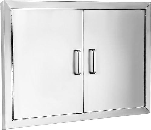 """SHZOND 31"""" Wx24 H BBQ Access Door 304 Stainless BBQ Island Door Heavy Duty Double Door Flush Mount Great for Outdoor Kitchen"""