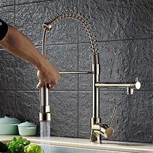 Bijjaladeva antieke keuken spoelbak keuken waterkraan pull-down-veer goud hogedrukreiniger koud water alle - koper - dubbele watertank armaturen