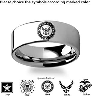 Naomi Military Symbol Logo Engraving Flat Polished Tungsten Ring - Army, Coast Guard, Navy, Marines, Air Force Red 7