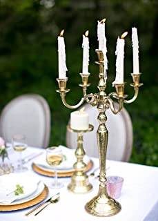 Afloral Candelabra Candle Holder, Table Decor Centerpiece, 24.5 inches, Gold