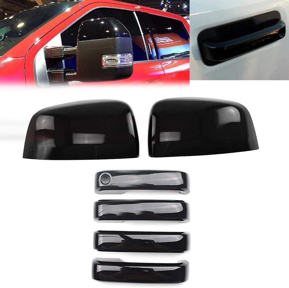 Overun Glossy Shiny Black Top Towing Selling rankings Mirror+Handle Cover Outlet ☆ Free Shipping Half No