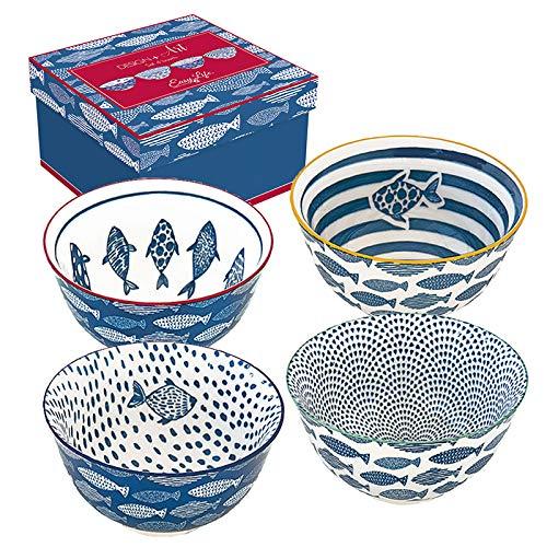 Easy Life 426SEAL Design + Art - Cofanetto 4 ciotole in ceramica, 11 cm, multicolore