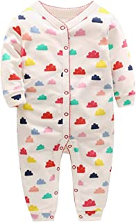 ACVIP Baby Girl's Boy's Clouds Print Button End Bodysuit Onesie (12-18 Months)