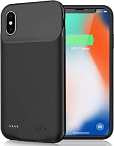 Battery Case for iPhone XS/X/10, 7000mAh Portable Rechargeable Battery Pack Charging Case for iPhone X/XS/10 (5.8 inch) Extended Battery Smart Charger Case Backup Power Bank (Black)